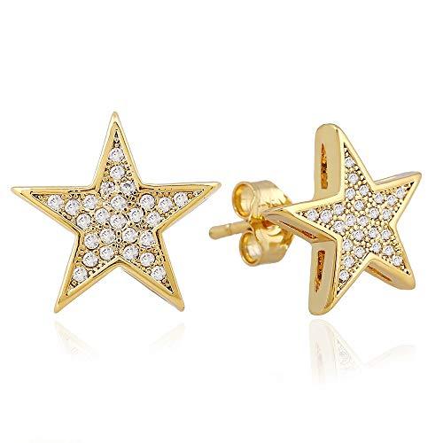 Hombres Hip Hop Stud Pendiente de cobre material piedra Bling iced Out Pentagram Star Pendiente hombres Rock joyería oro color
