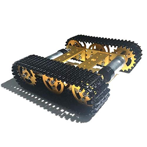 SFUO Metalltank Modell Roboterverfolgung Auto Chassis DIY Track Teaching Crawler/Caterpillar Plattform Fit für Arduino UNO R3 (Color : Yellow with 33 Motor)