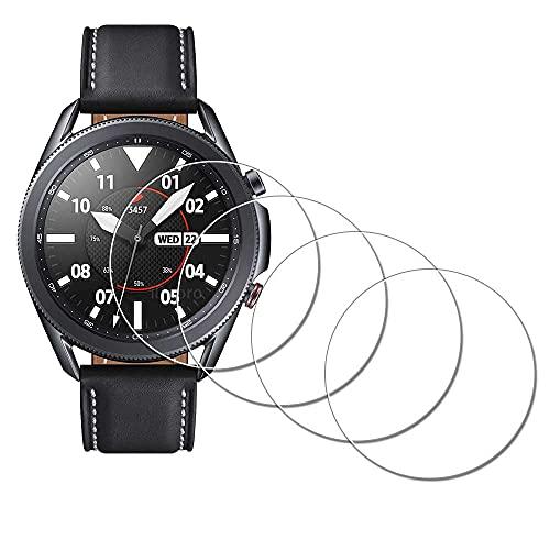 Displayschutzfolie für Samsung Galaxy Watch 3 45 mm Smartwatch [4 Stück], iDaPro gehärtetes Glas, kratzfest, blasenfrei, einfache Installation