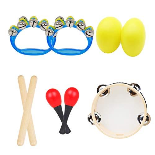 ARTIBETTER Conjunto de Instrumentos Musicais Infantis Ritmos Música para Aprender Brinquedos Clave Varas Shakers Pandeiro Pulso Sinos Maracas Pré-Escolar Brinquedos Educativos 5 Conjuntos