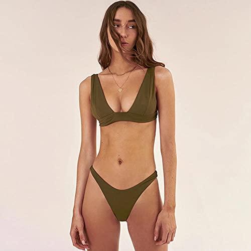 WQZYY&ASDCD Traje De Baño Bikinis Bikini Sexy Traje De Baño Sólido Traje De Baño para Mujer Ropa De Playa De Verano-Verde_Militar_M