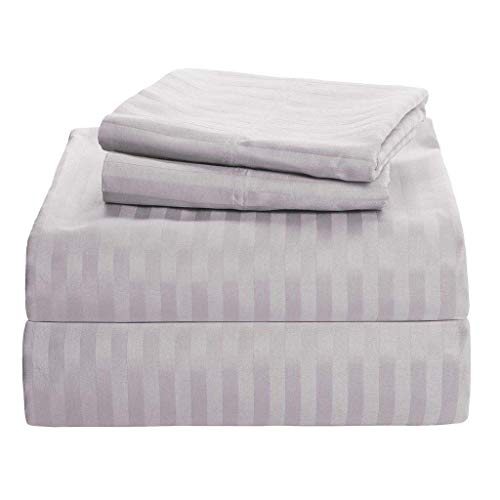 Cotton Bed Sheets - 100% Cotton - 500 Thread Count - 4-8 Inch Deep Pocket Fitted Sheet with Elastic All Around- Soft & Luxurious Hotel Quality Sheets(Light Grey Stripe - Twin)