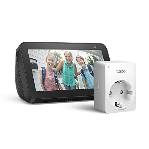 Echo Show 5 - Nero +Tapo P100 Presa intelligente Wi-Fi, compatibile con Alexa