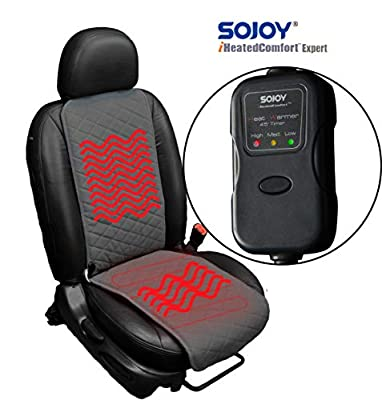 Sojoy Universal 12V Heated Car Seat/Cushion Warmer High/Low, 30 Mins Automatically Turn-off Timer