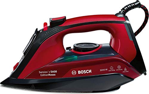 Bosch TDA503001P Sensixx DA50, Plancha de Vapor, 3000 W, Color Rojo 15x30x12cm