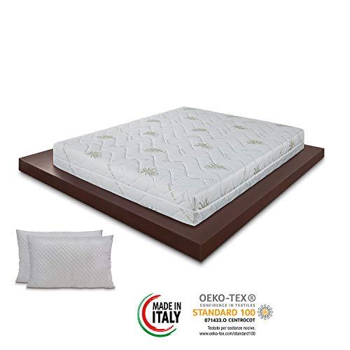 Materassimemory.eu - Materasso Wave Top Matrimoniale Mis. 160x200 Alto 23cm Anatomico, Imbottitura Fibra Ipoallergenica, Igienico, Confortevole, Spedito Sottovuoto Arrotolato, 100% Made in Italy