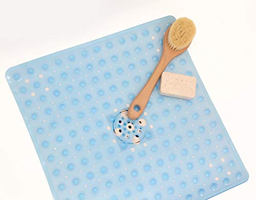 "Hermosa Collection Square Shower Mats Latex Allergen Free and Anti Bacterial and Anti Slip (21"" x 21"" inches, Blue)"
