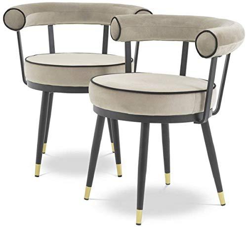 Casa Padrino Conjunto de sillas de Comedor de Lujo Greige/Negro/latón 66 x 59 x A. 70 cm - Sillas de Comedor con Terciopelo Fino - Muebles de Comedor