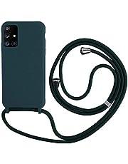 2NDSPRlNG Funda con Cuerda Compatible con Samsung Galaxy A51 5G,Colgante Collar Correa de Cuello Cadena Cordón,Silicona Suave Verde Oscuro