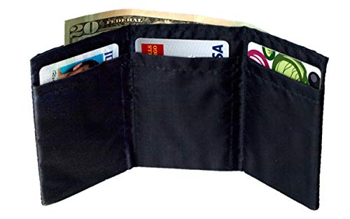 Butterfly Wallet - World's Lightest Thinnest Trifold Minimalist Wallet for Men and Women. Vegan. No Animal Products Used. Great for Front Pocket. Ultra-Compact Travel Partner - Black