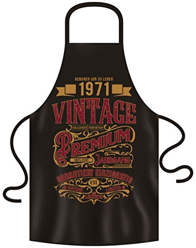 Schürze mit Geburtstagsurkunde - Premium Vintage 1971 Geschenk für den Jahrgang 1971 Männer & Frauen Grillschürze 50. Geburtstag Farbe: schwarz