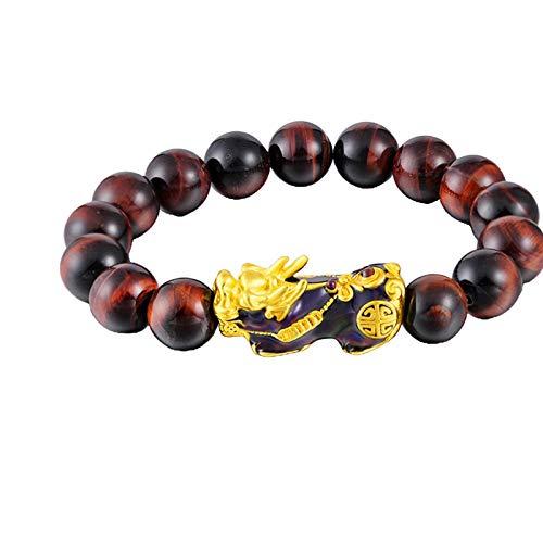 Hellery Brazalete Chino Pi Xiu Feng Shui obsidiana Pulsera de la Riqueza Mantra Amuleto Pulsera de Cuentas para Mujeres Hombres atraer la Riqueza Puede - Rojo marrón