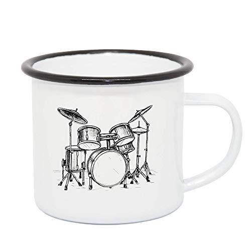 taktfest Emaile Tasse mit Schlagzeug - Geschenk für Musiker/Schlagzeuger/Bandmitglieder - Retrotasse