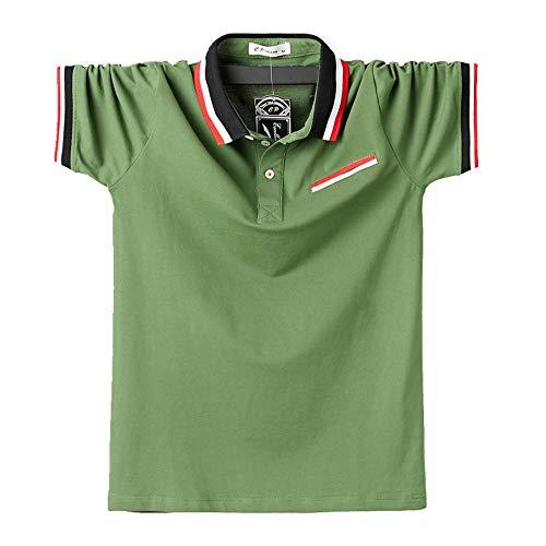 NOBRAND Fattening Maglietta Manica Corta Uomo Polo Mezza Manica Ufficio Casual Uomo Abbigliamento Estivo Verde 4XL