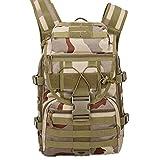 QWZ Impermeable MOLLE Mochila, Mochila Ligera Recorrido al Aire Libre, Ampliable Camping Viajar Militar Mochila (Color : Three Sand Camouflage Color)
