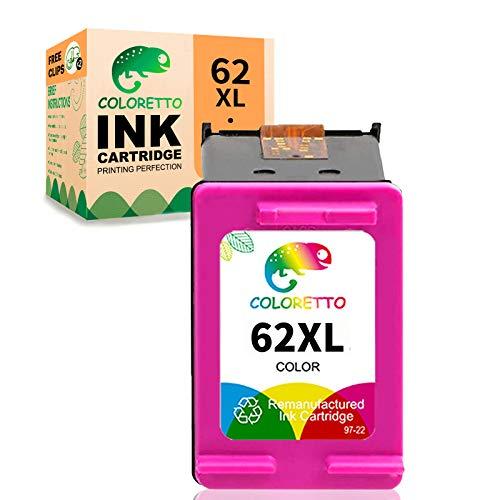 COLORETTO Cartucho de Tinta Remanufacturado para HP 62XL 62 XL (1 Tricolor) Compatible con HP 5540 5544 5640 5542 7640 5546 HP OfficeJet 250 5740 5742 200 Impresoras