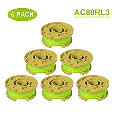 """Thten 11ft 0.080"""" Replacement Trimmer Spool for Ryobi One Plus AC80RL3 18v 24v and 40v Cordless Trimmers Line Refills Weed Wacker Auto-Feed Twist Single Line Parts (6 Pack)"""