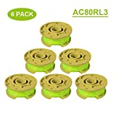 Thten 11ft 0.080' Replacement Trimmer Spool for Ryobi One Plus AC80RL3 18v 24v and 40v Cordless Trimmers Line Refills Weed Wacker Auto-Feed Twist Single Line Parts (6 Pack)