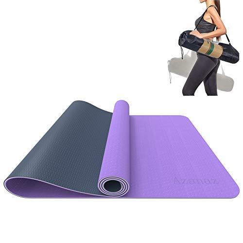 Yogamatte Rutschfest Gymnastikmatte 3 Schichten Pilatesmatte Aus Tpe, Sportmatte, Yoga Matte, Fitnessmatte für Yoga, Pilates, Fitness, mit Aufbewahrungstasche-183 x 61 x 0,6cm