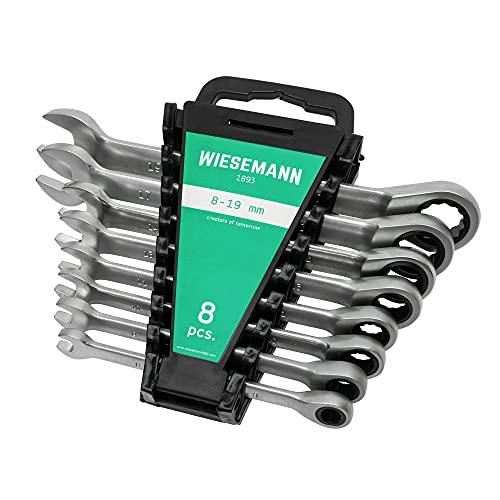 Set chiave a cricchetto da 8 pezzi 8-22 mm a 72 denti WIESEMANN 1893 | lega acciaio in CV cromato | 80393
