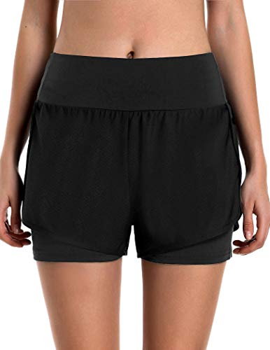 COOrun Women's Sports Workout Shorts Double Layer Running Shorts 2 in 1 with Back Pocket S-XXL (L, Black)