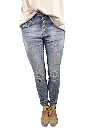 Jewelly Boyfriend Stretch Jeans open knoopsluiting blauwe pailletten