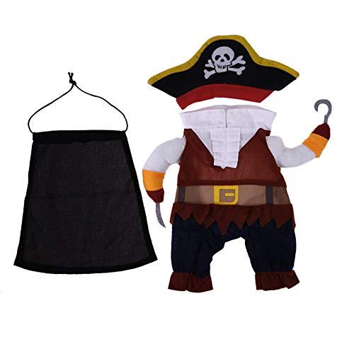 Tuankayuk Pirata Costume Abbigliamento per Animali Cani Gatti Costume di Halloween Fantastici,M