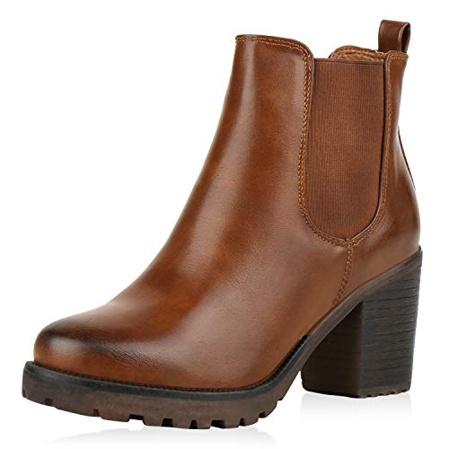 SCARPE VITA Damen Chelsea Boots Leicht Gefütterte Stiefeletten Plateau Schuhe 151412 Hellbraun...