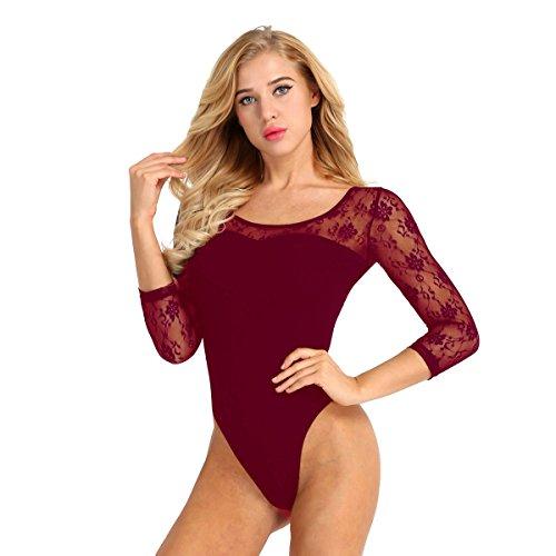 Alvivi Maillot de Ballet Danza Leotardo de Encaje Gimnasia Body Clásico Elástico Monos Algodón Ropa Deporte para Mujer Chica XS-XL Vino Rojo S