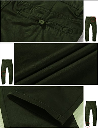 Match Men's Slim Fit Tapered Stretchy Casual Pants (32W x 31L, 8050 Army green)