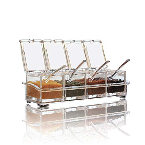 Clear Seasoning Box,V-Resourcing 4 Pieces Clear Seasoning Storage Container for Spice Salt Sugar Cruet,Condiment Jars with Spoons