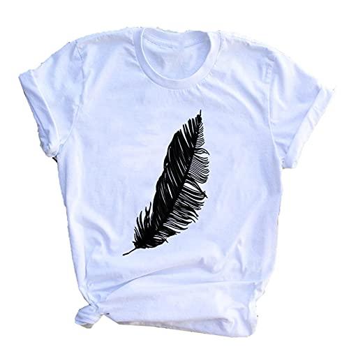 shirts 2020 Mujeres Casual Harajuku Moda T Pluma Impresión Suelta O-Cuello Manga Corta Elástico Estirado Verano Inicio Nueva Tee