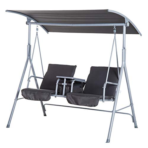 Outsunny Outdoor 2 Seater Swing Chair Sun Shade Heavy Duty Cushioned Adjustable Canopy Double Padded Seats - Grey