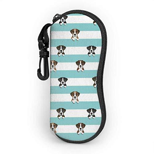 AOOEDM Estuche para gafas con mosquetón, Boxer Stripes Dog Blue Ultraligero Portátil Neopreno Cremallera Gafas de sol Estuche blando