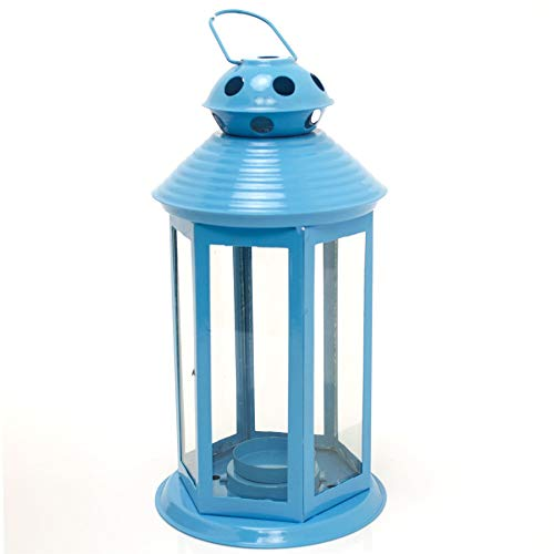 Carousel Home and Gifts Colourful Neon Festival Party Garden Metal Tealight Lantern 25cm - Large Votive Tea Light Candle Holder ~ Blue