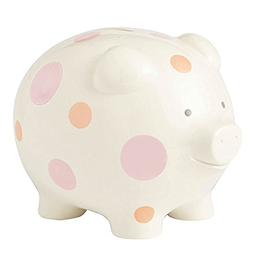 Beginnings by Enesco Big Polka Dot Piggy Bank, 7 inches, Pink