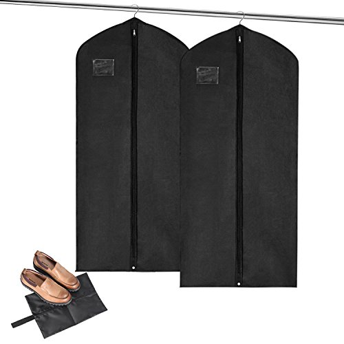 Review MaidMAX 60 Inches Garment Bag Suit Cover with Label Holder, Zipper and Pocket