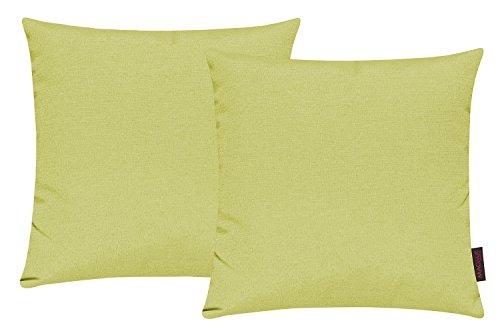 Fino Kissenhülle ca. 40 x 40 cm hochwertig & knitterarm Farbe 37 Lindgrün (2er Set)