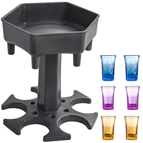 AIEOE Schnaps Verteiler und Shot Gläser Set Geträke Spender für Party Bar Trinkspiel Grau und 6Pcs Bunte Gläser