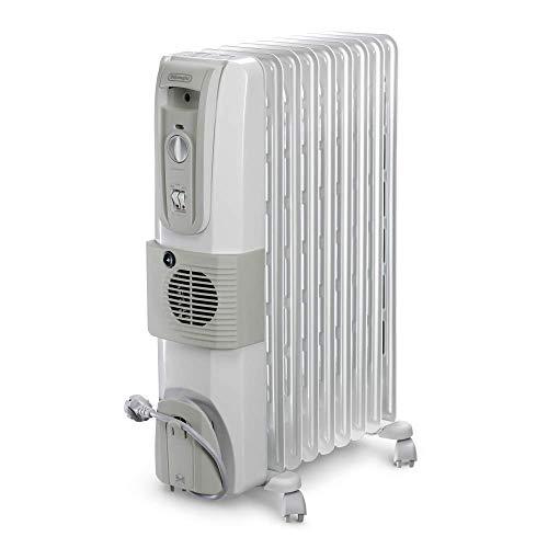 DELONGHI 12 Fin Oil Filled Radiator Room Heater with Fan (White, 3000W)
