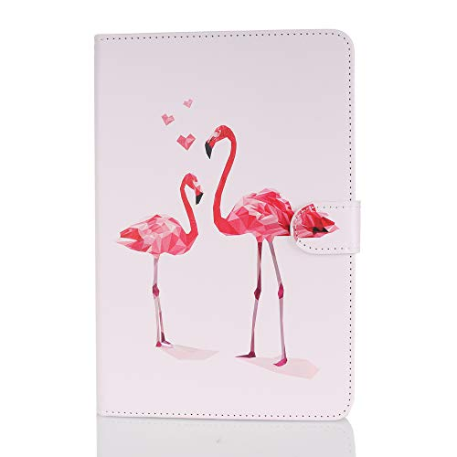 Case for Tablet iPad Mini, Flip Cover Leather Wallet with Card Holder for iPad Mini 1 2 3 4 5 - Flamingo