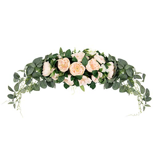 U'Artlines 31 Inch Floral Swag Artificial Peony Flower Wreaths for Front Door with Eucalyptus Leaves Berries Handmade Peony Garland for Wedding Home Party Wall Decor(Champagne)