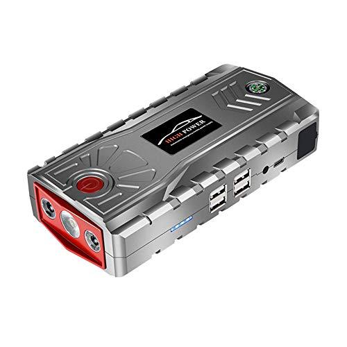 Booster accu, 600 A draagbare jumpstarter auto (tot 6 l benzine 3,0 l diesel), 4 laadpoorten, klemmen met display, ledlamp grijs.