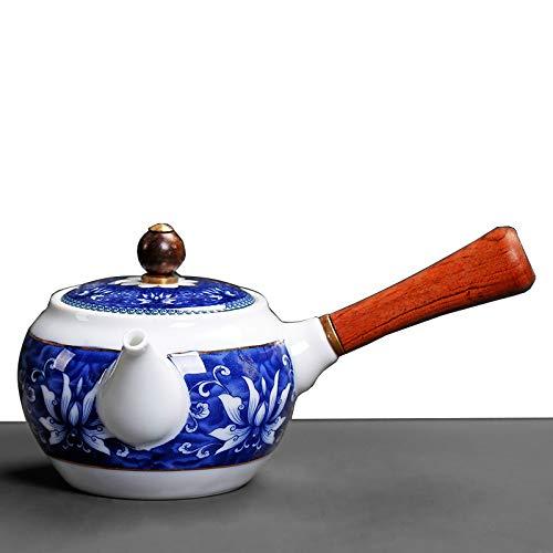 CHHU Théière en Porcelaine Bleue Et Blanche, Personnalité du Filtre, Créative en Céramique À Un Pot, Théière en Kung Fu À Une Seule Main,Archaiser,Théière