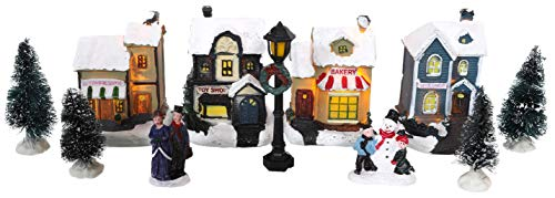 Toyland Mini Christmas Village & Shop Scene Set con luci a LED - Decorazioni Natalizie (Negozi 12pc)