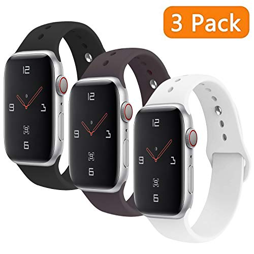 VODKE Compatible with Apple Watch Band 3 Pack 38mm 40mm 42mm 44mm,Soft Silicone Strap Replacement Bracelet Compatible with iwatch Sport Series 5 Series 4 Series 3 Series 2 Series 1