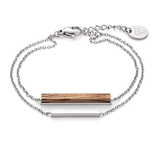 KERBHOLZ Holzschmuck – Geometrics Collection Rectangle Bracelet, filigranes Frauen Armband in silber mit Stab Anhänger aus Naturholz, größenverstellbar (Armbandlänge 15 + 2,5 cm)