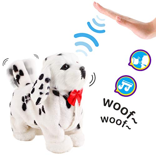 deAO Mascota Interactiva Perrito Robot Inteligente Juguete Electrónico con Ladridos, Movimientos, Música y Sensor al Tacto Incluye Caseta de Perro (Blanco)