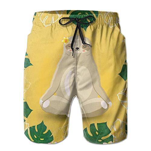 First Ring Badehose Tropical Monstera verlässt Jungle Sloth Beach Shorts für Männer Badehose Badebekleidung-XX-Large-,