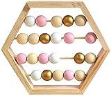 Dengofng Nórdico Estilo Temprano Educación Madera Ábaco Juguete Matemáticas Aprendizaje Chino Manualidades a la Antigua Ábaco con Cuentas - Rosa Oro, Free Size